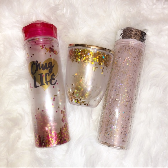 Set of Three Floating Glitter Water Bottle and Cup